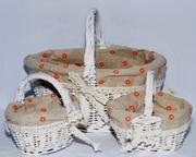 Корзина плетеная вставка с кружевом,  набор 3шт 28*22*22см